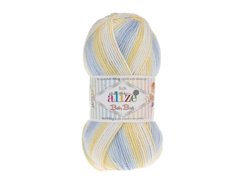 Příze Baby best batik 6925 modro-žluto-bílá