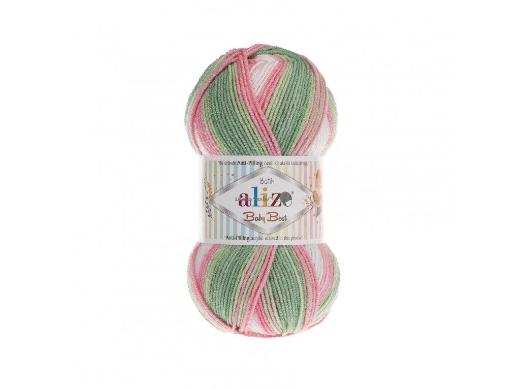 Příze Baby best batik 7067 růžovo-zeleno-bílá