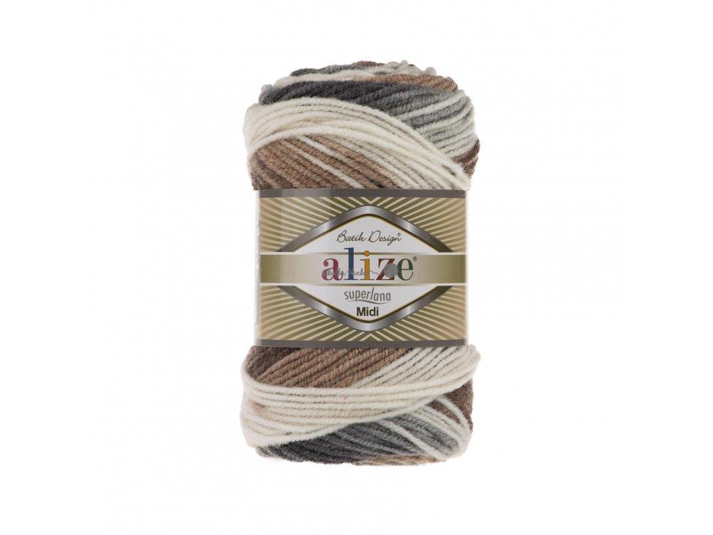 Superlana midi batik 5742 hnědo-světlá