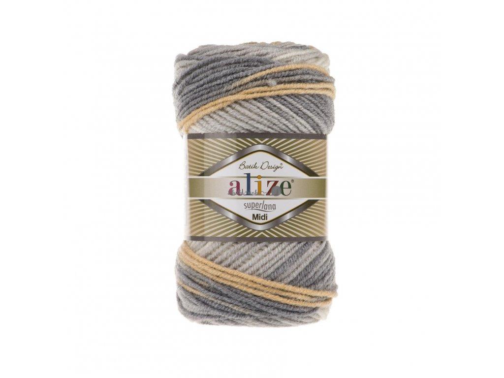 Superlana midi batik 7053 šedo-okrová