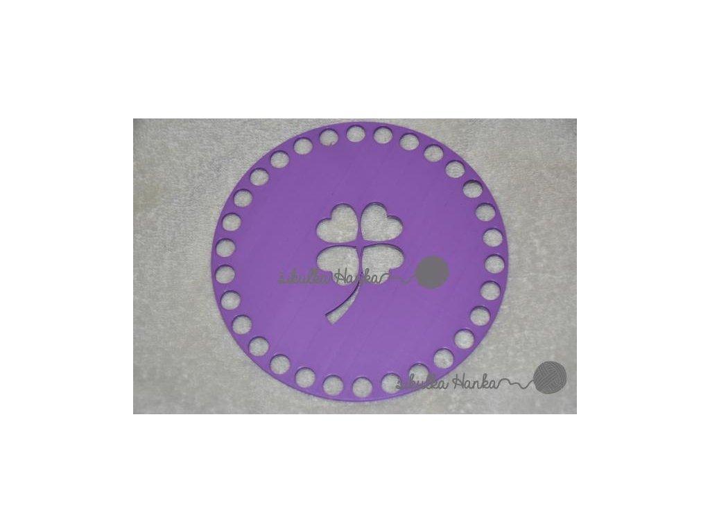 Víko/dno na košík 14,5cm - čtyřlístek lila