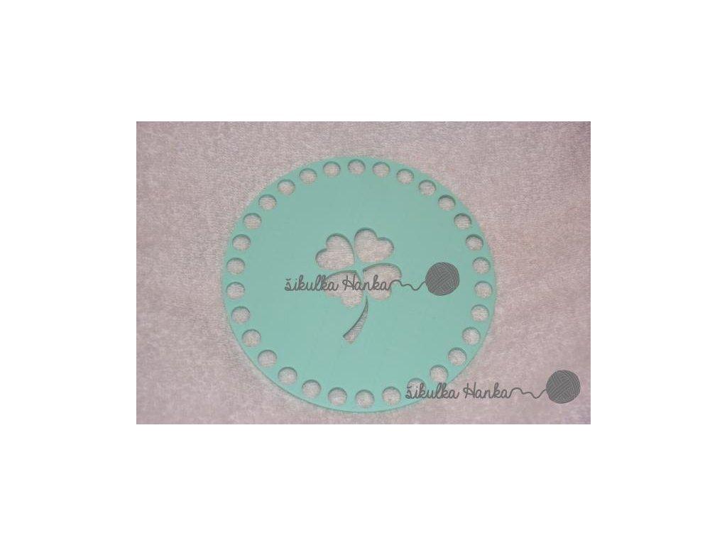 Víko/dno na košík 14,5cm - čtyřlístek mint