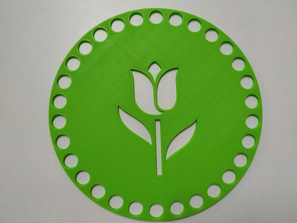 Víko/dno na košík 14,5cm - tulipán jarní zelená