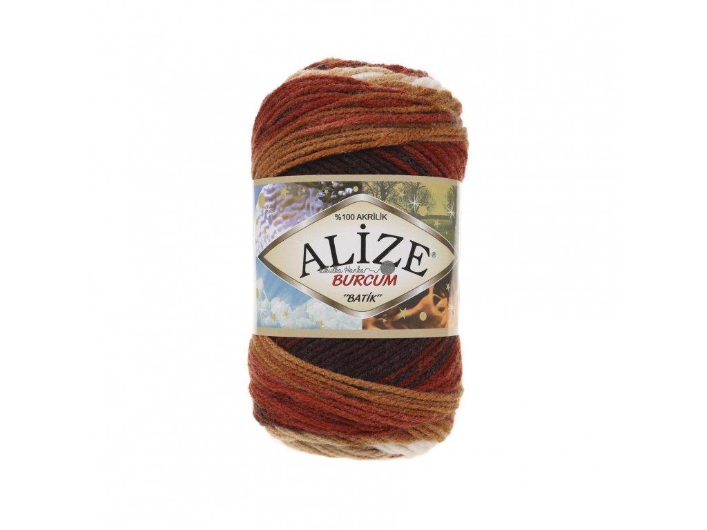Příze Alize Burkum batik 2626 hnědo-bílá