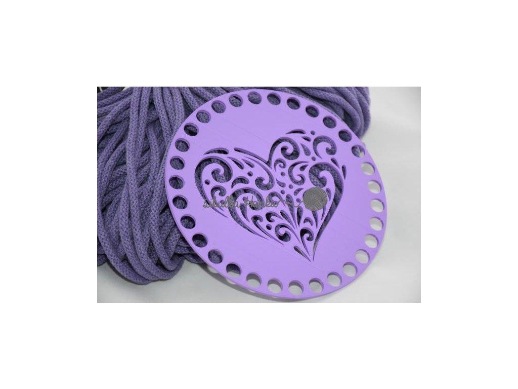 Víko/dno na košík 14,5cm - srdce ornament lila