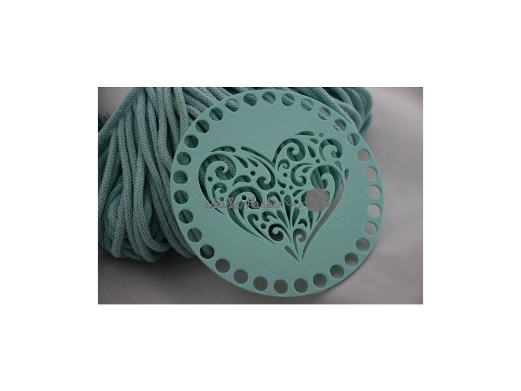 Víko/dno na košík 14,5cm - srdce ornament mint