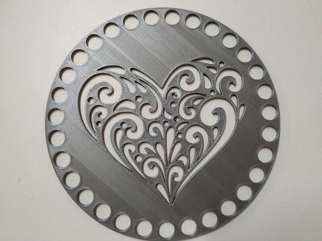 Víko/dno na košík 14,5cm - srdce ornament střííbrno-šedá