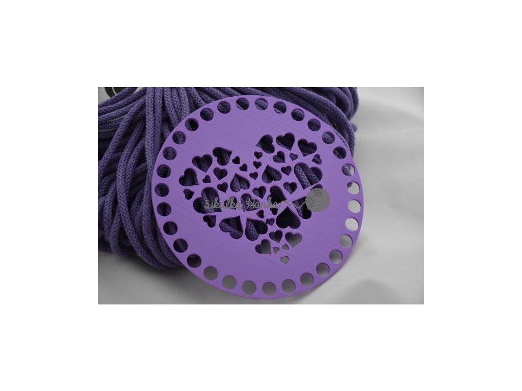Víko/dno na košík 14,5cm - srdíčka lila