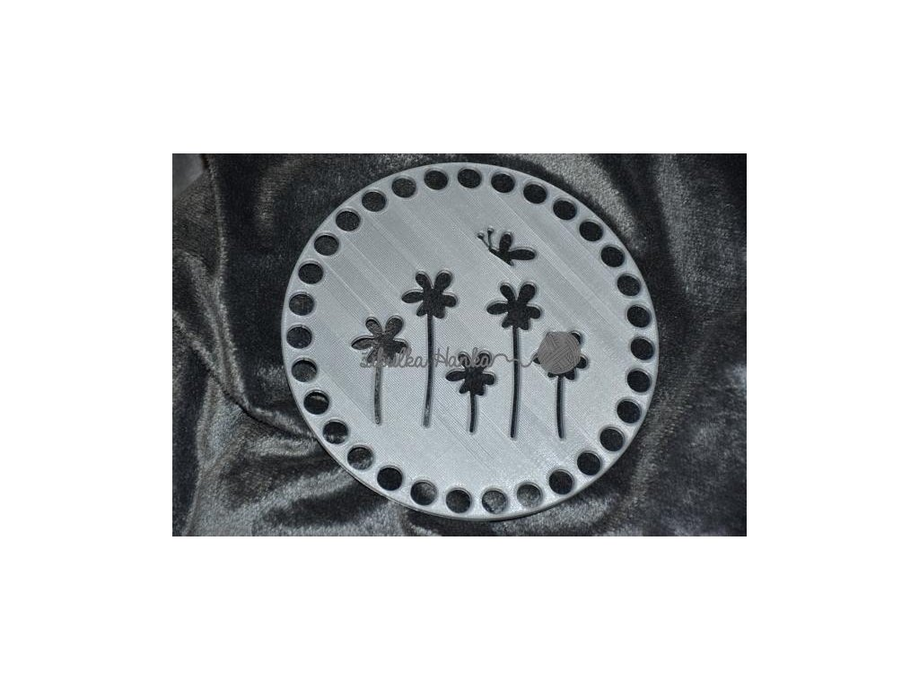 Víko/dno na košík 14,5cm - kytky s motýlem stříbrná