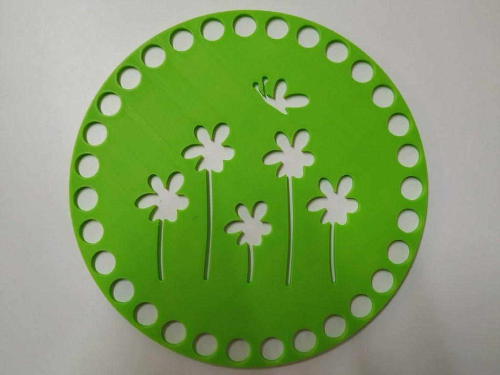 Víko/dno na košík 14,5cm - kytky s motýlem jarní zelená