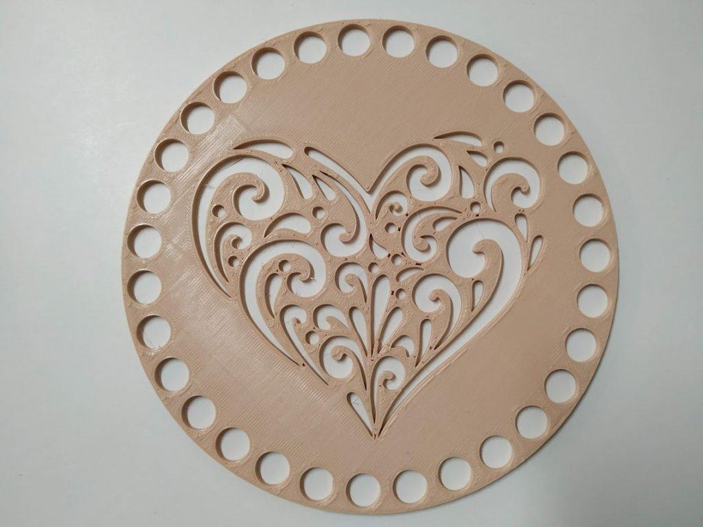 Víko/dno na košík 14,5cm - srdce ornament béžová