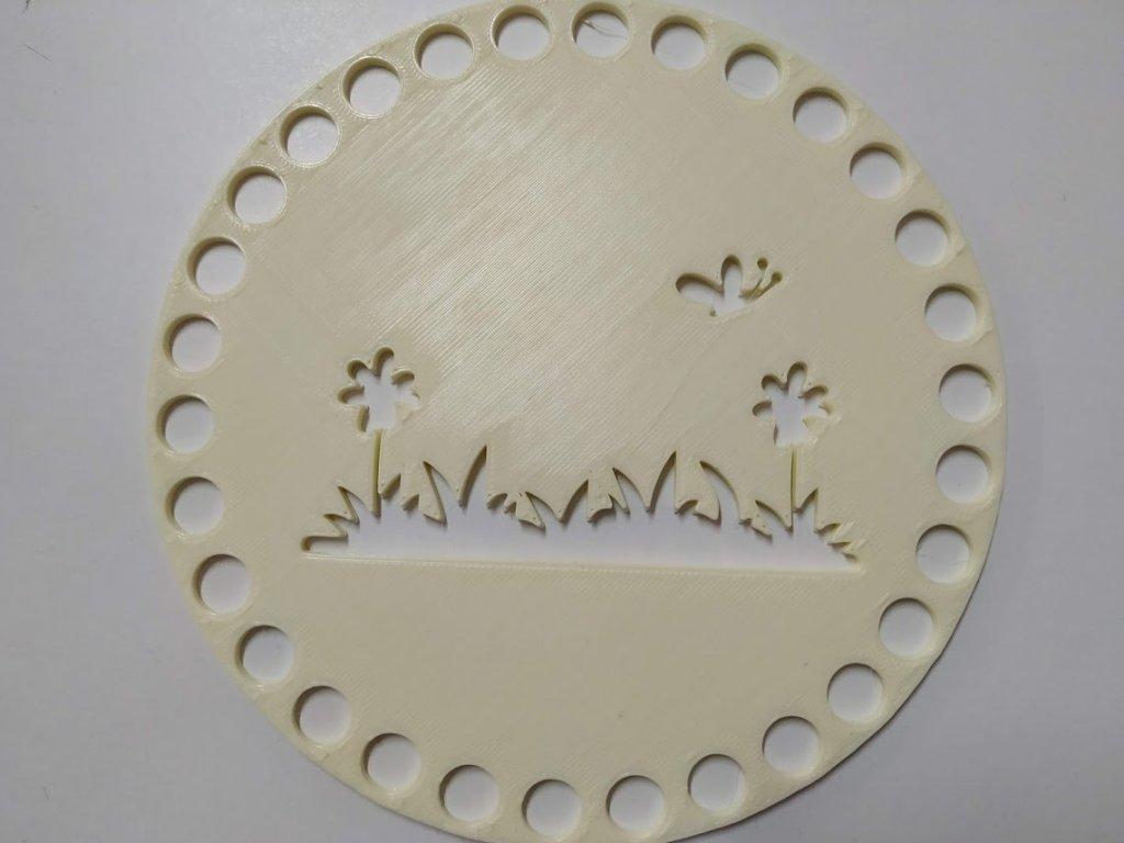 Víko/dno na košík 14,5cm - tráva motýl vanilka