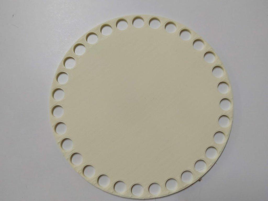Víko/dno na košík 14,5cm - plné vanilka