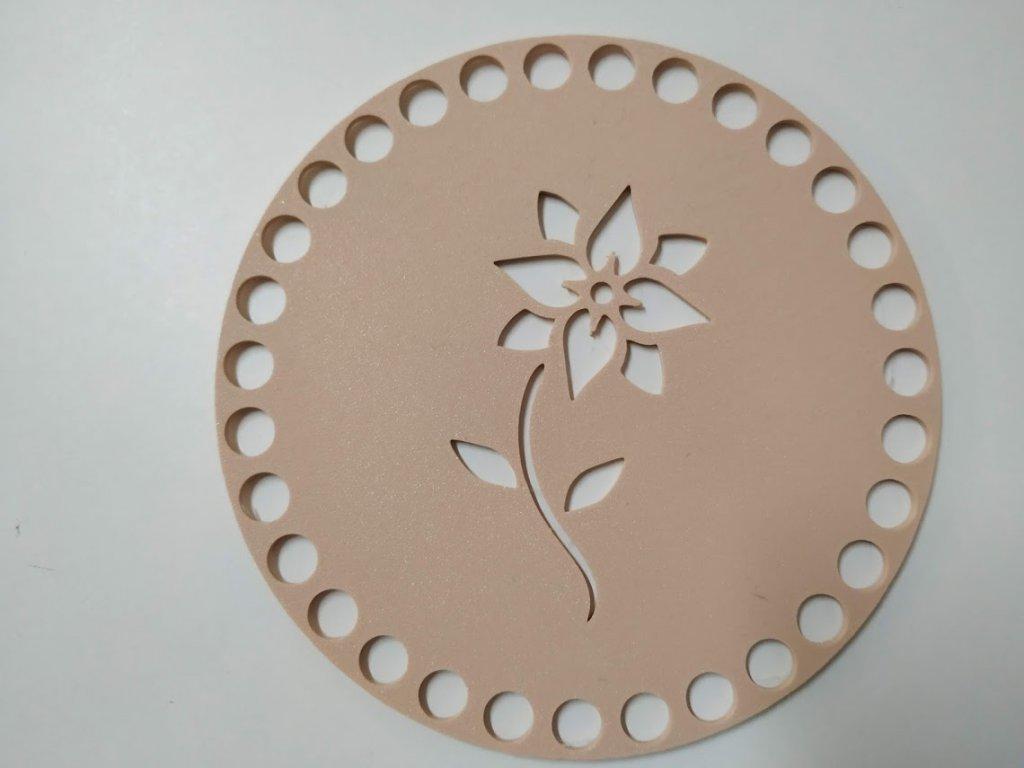 Víko/dno na košík 14,5cm - květinka béžová