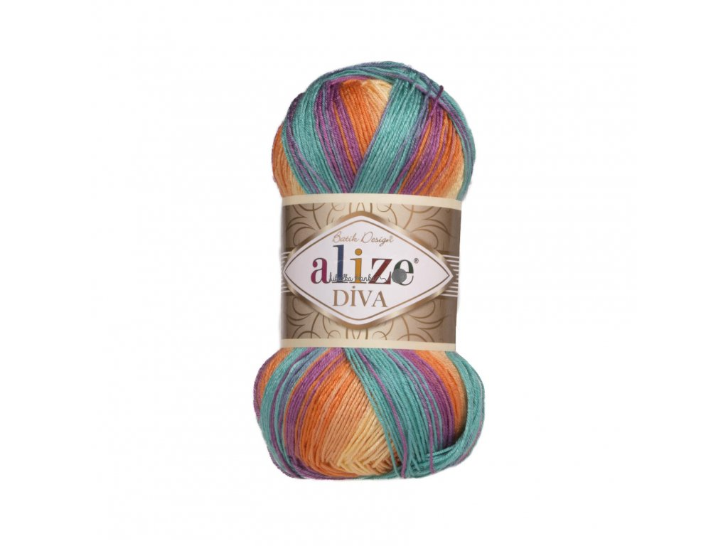 Příze Alize Diva batik 7074 barevná