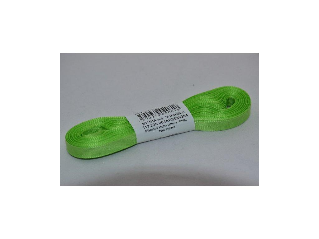 Stuha taftová 6mm 304 zelenožlutá