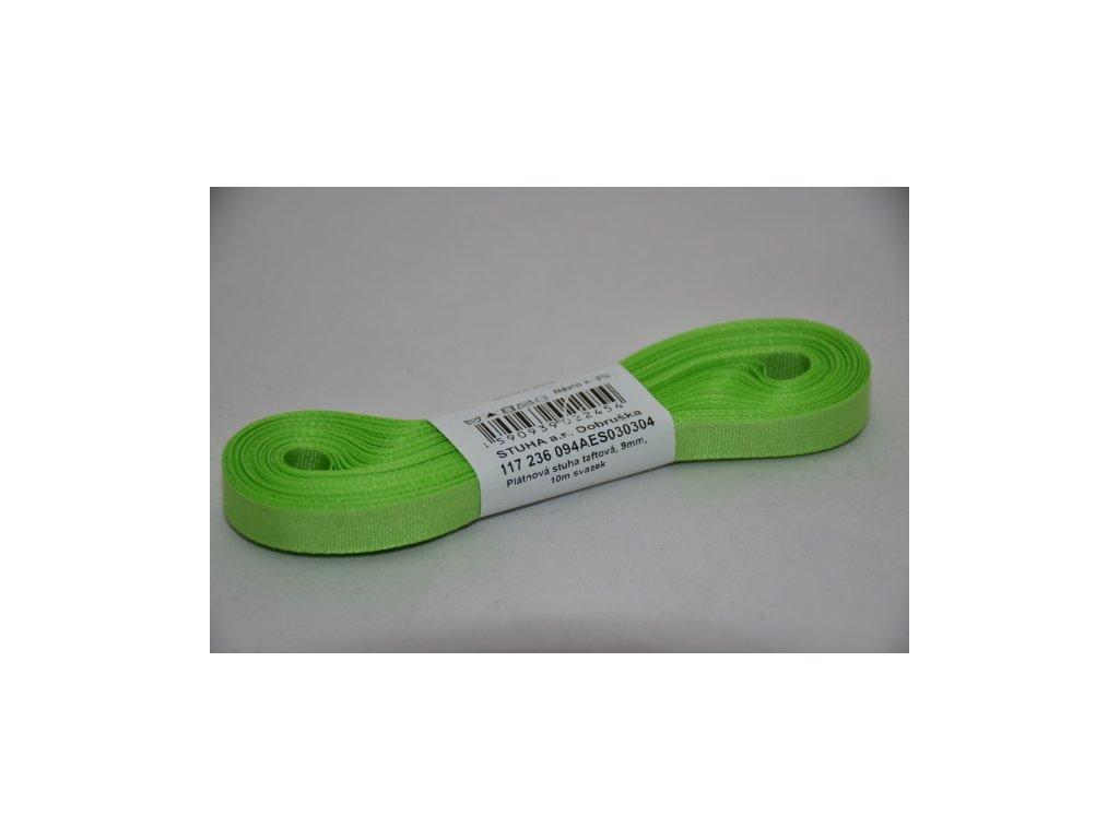 Stuha taftová 9mm 304 zelenožlutá