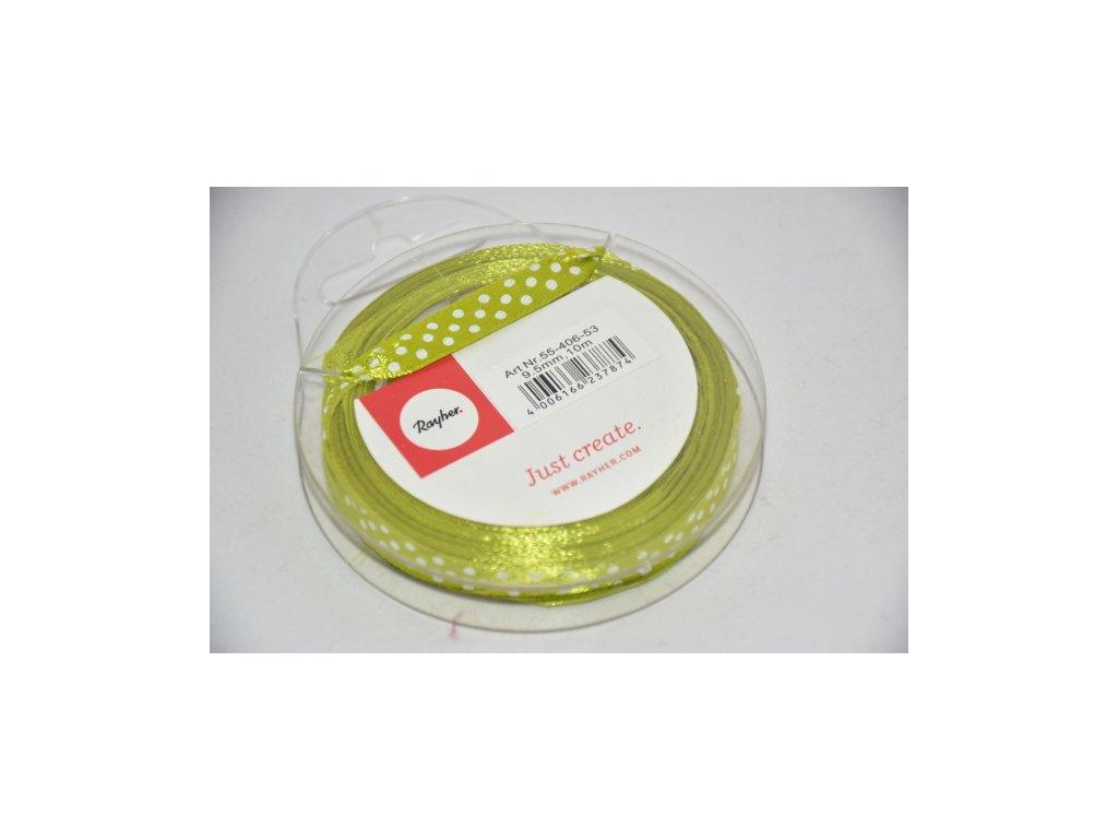 Stuha saténová s puntíkem 9,5mm zelenožlutá