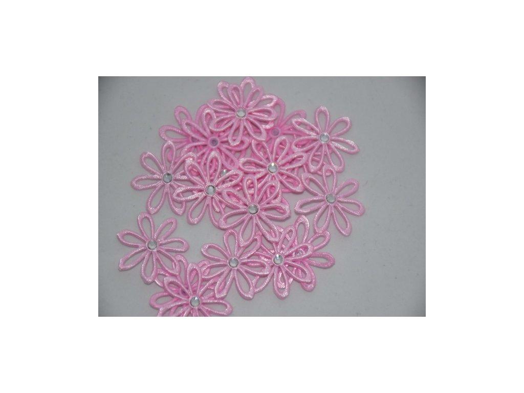 Aplikace kytička s kamínkem sv.růžová