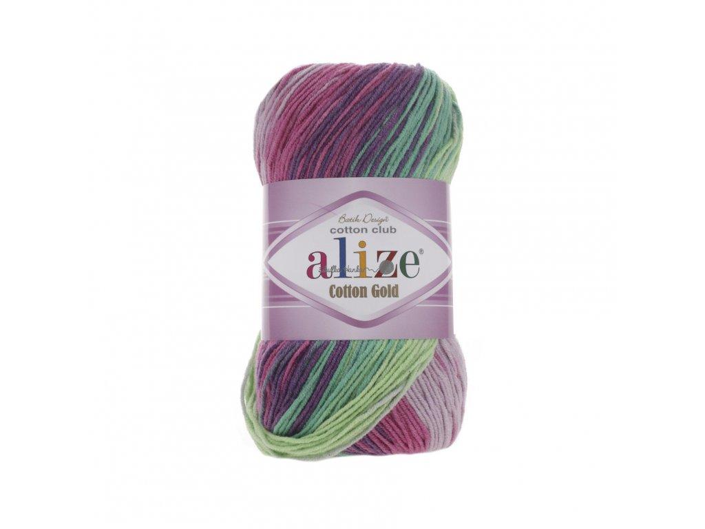 Alize Cotton gold batik 4147 zeleno-růžová