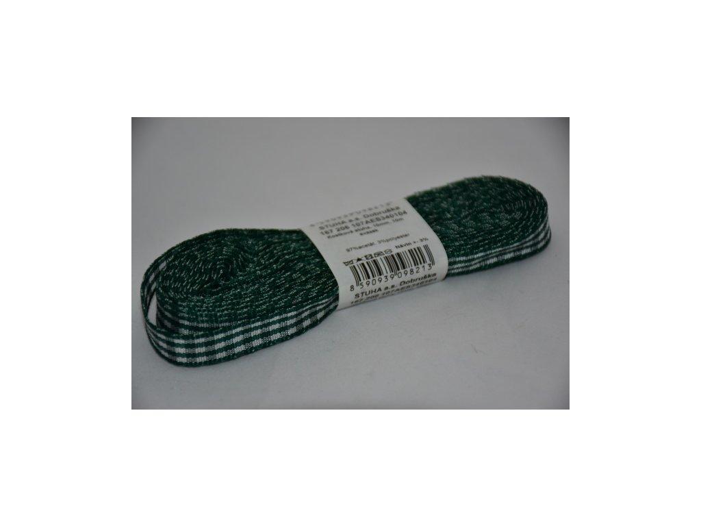 Stuha kostkovaná 10mm 104 tmavě zelená