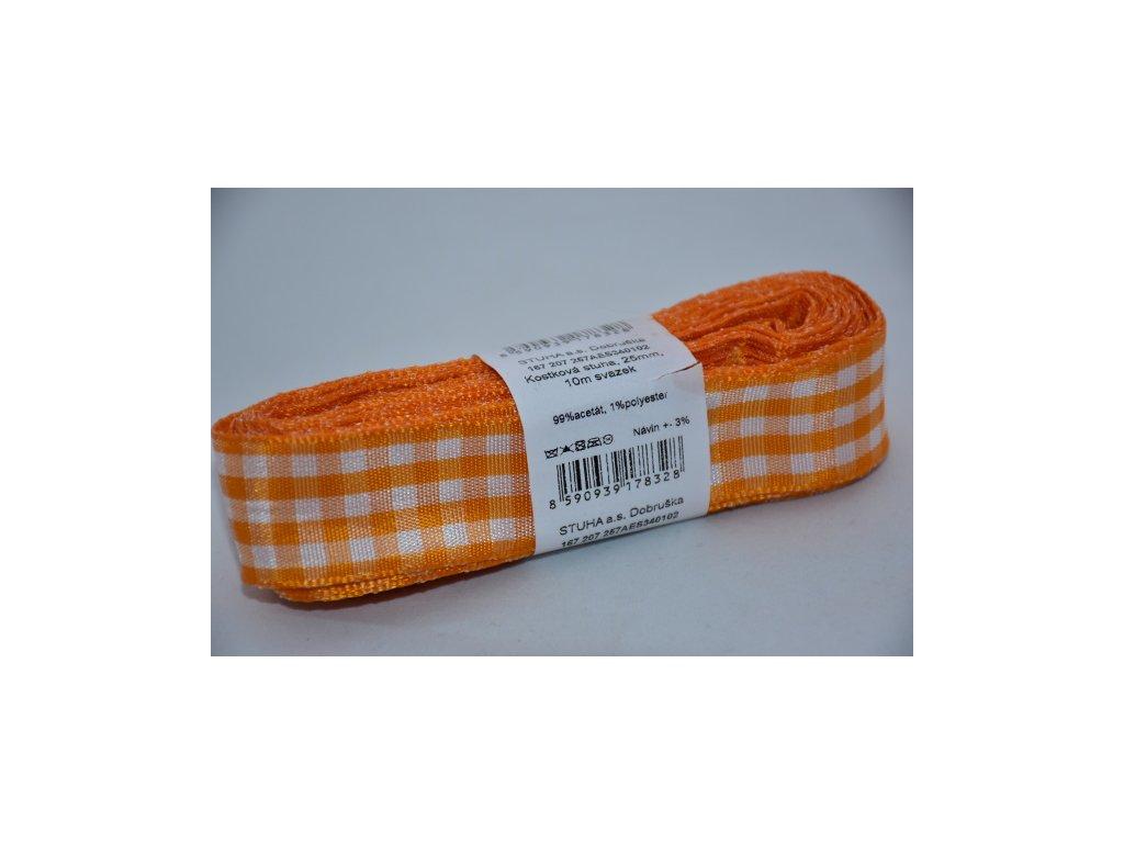 Stuha kostkovaná 25mm 102 oranžová