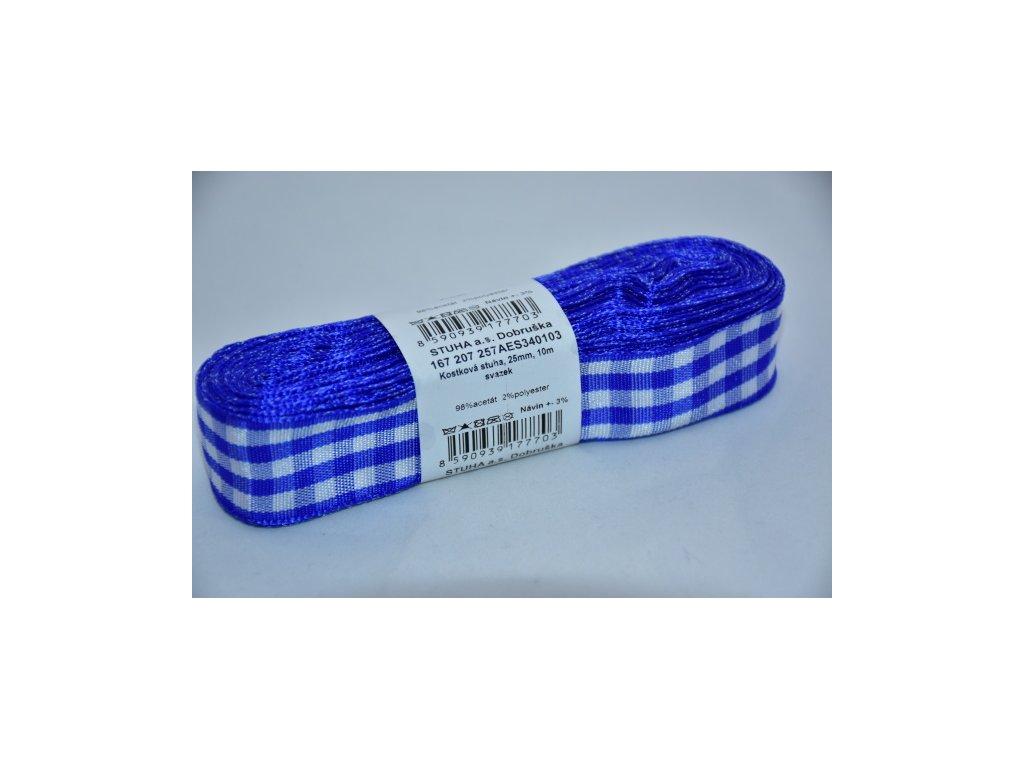 Stuha kostkovaná 25mm 103 modrá