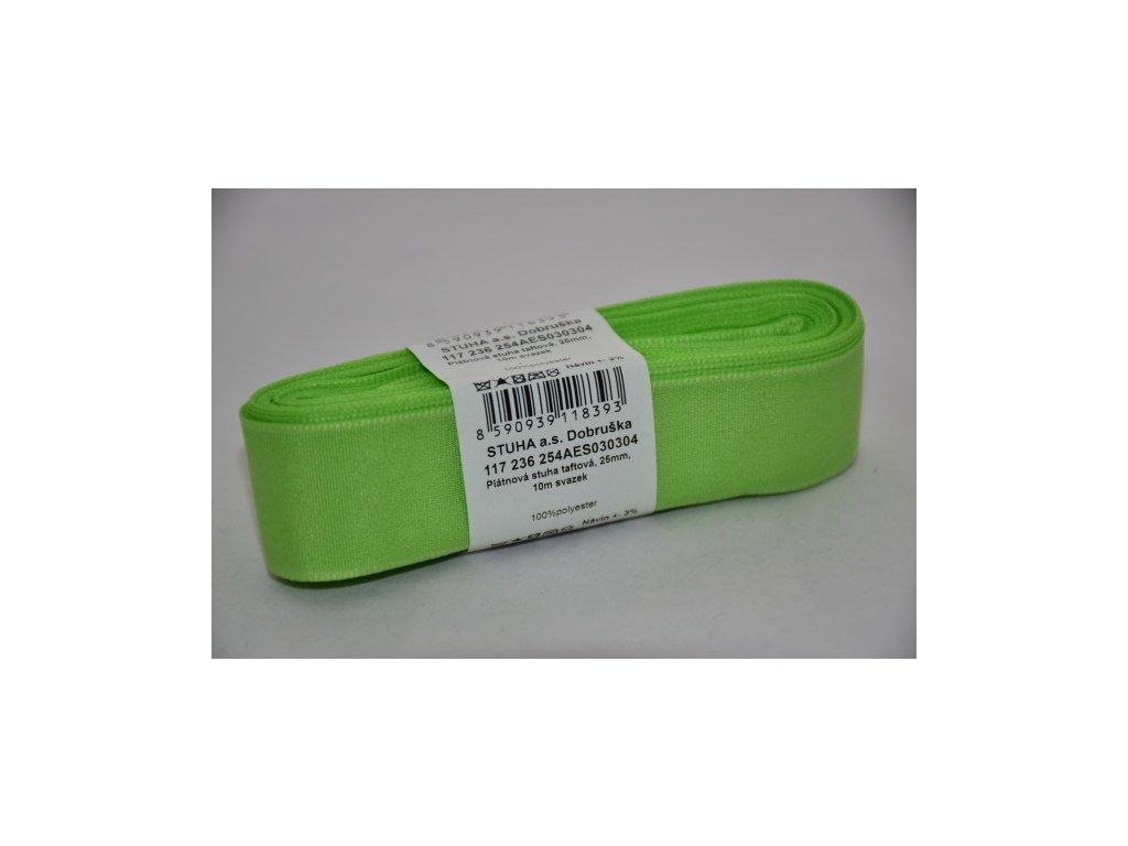 Stuha taftová 25mm 304 žlutozelená
