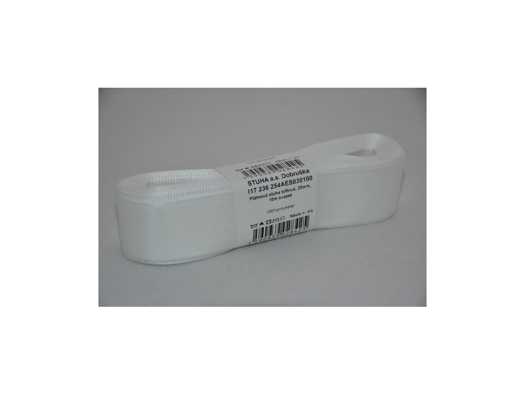 Stuha taftová 25mm 100 bílá