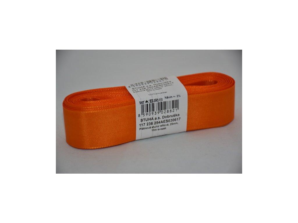 Stuha taftová 25mm 617 oranžová