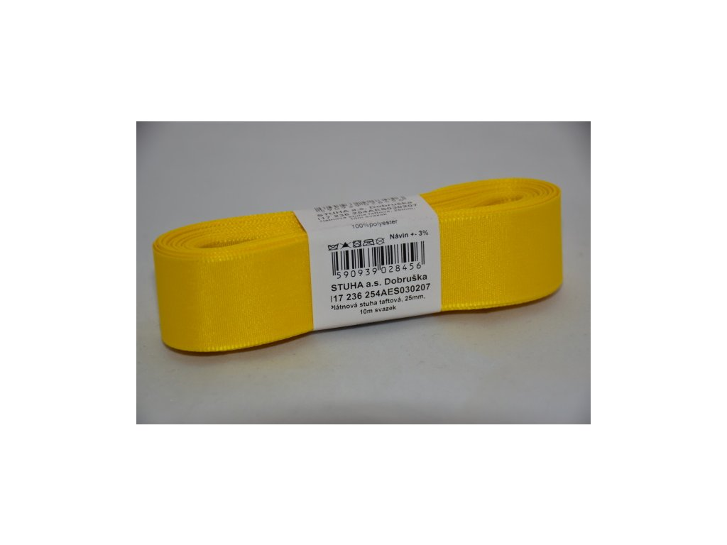 Stuha taftová 25mm 207 žlutá