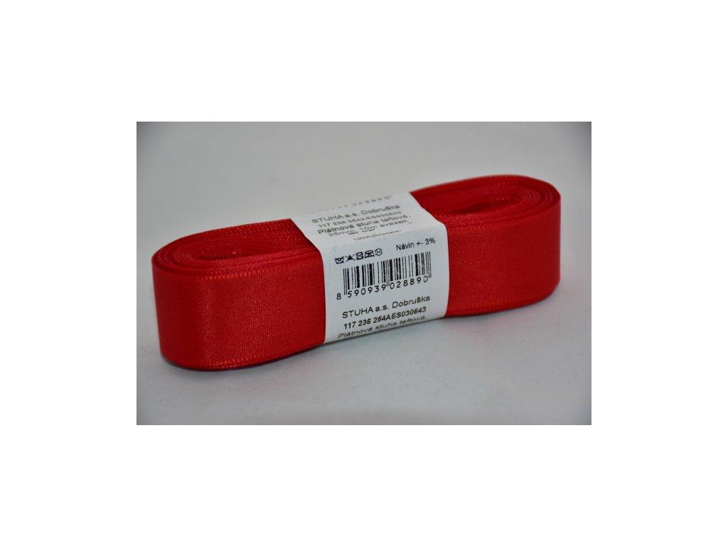 Stuha taftová 25mm 643 červená