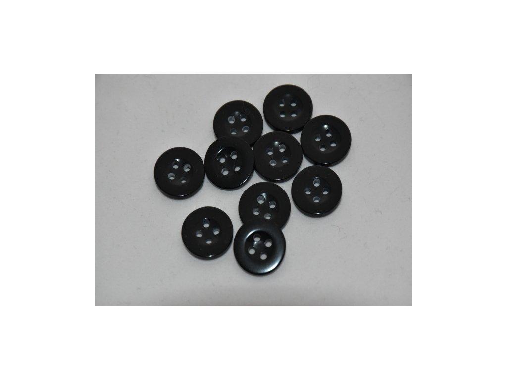 Knoflík plastový čtyřdírkový černý