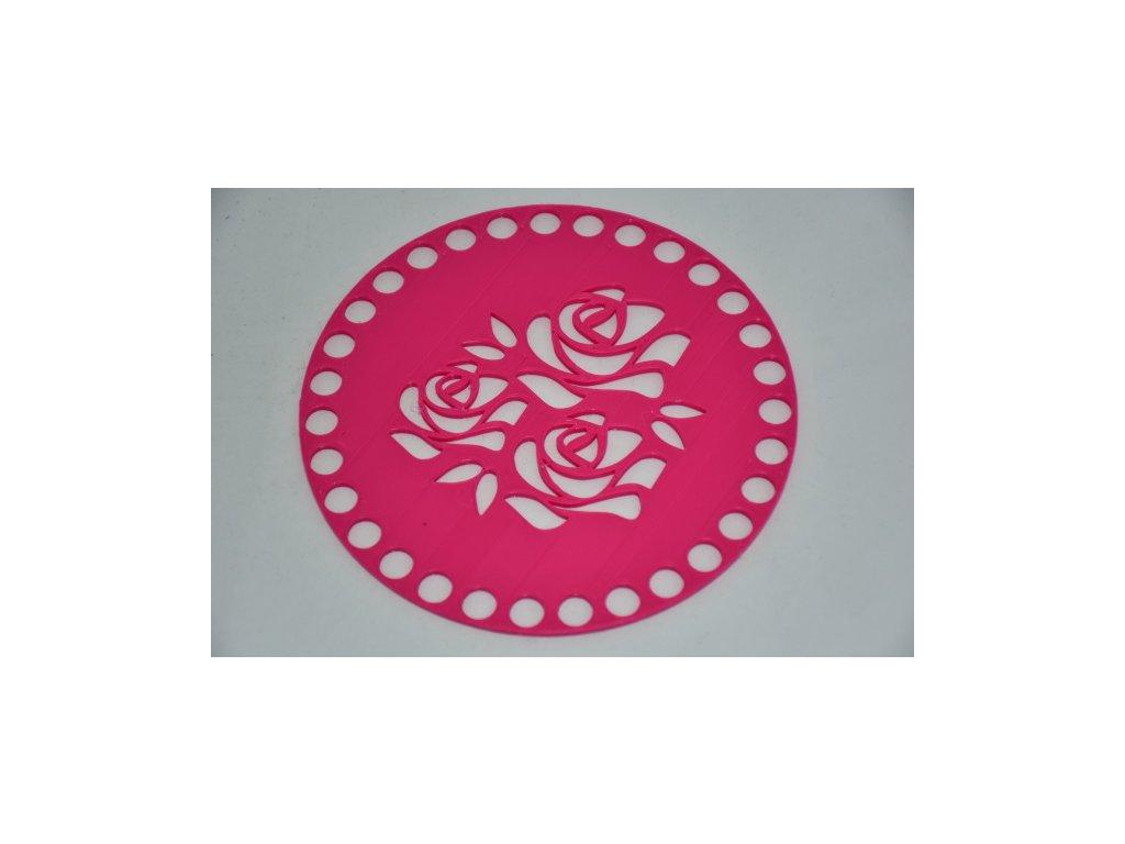 Víko/dno na košík 14,5cm - 3 růže fuchsie