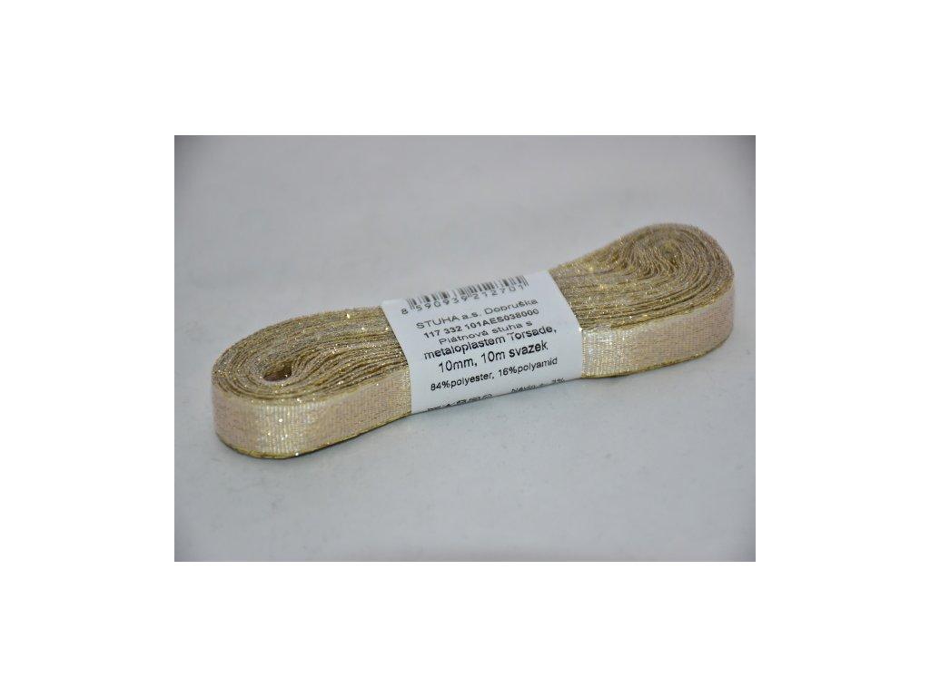 Stuha adjustační - torsade 10mm zlatá