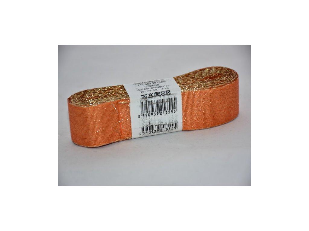 Stuha adjustační - torsade 25mm oranžová