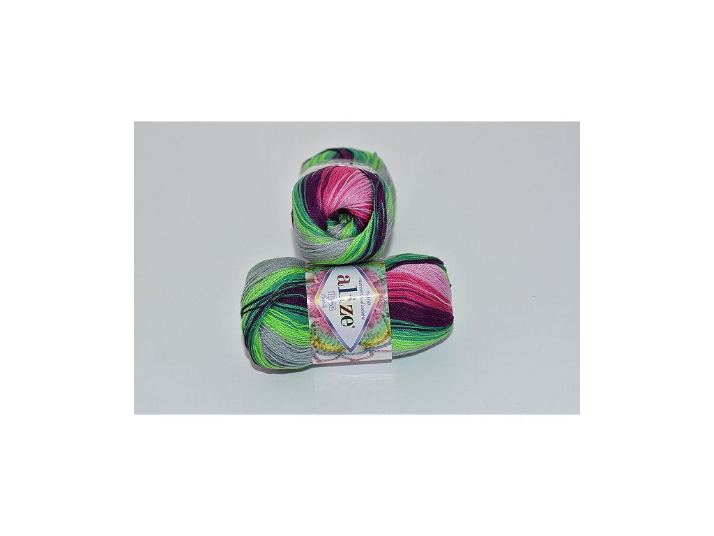 Alize Miss batik 3708 lila-zeleno-bílo-žlutá