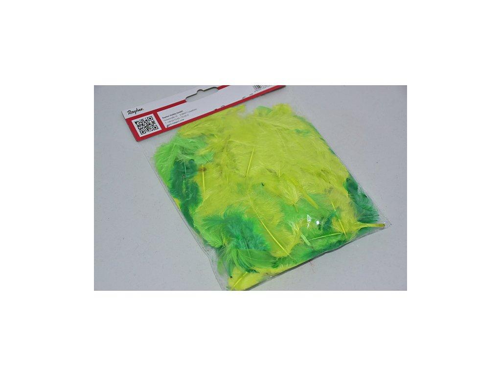 Peří barevné 3-10cm zeleno-žlutá směs