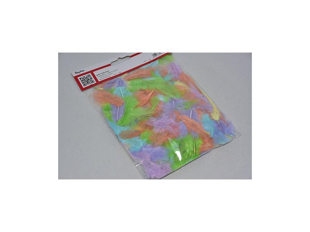 Peří barevné 3-10cm pastelová směs