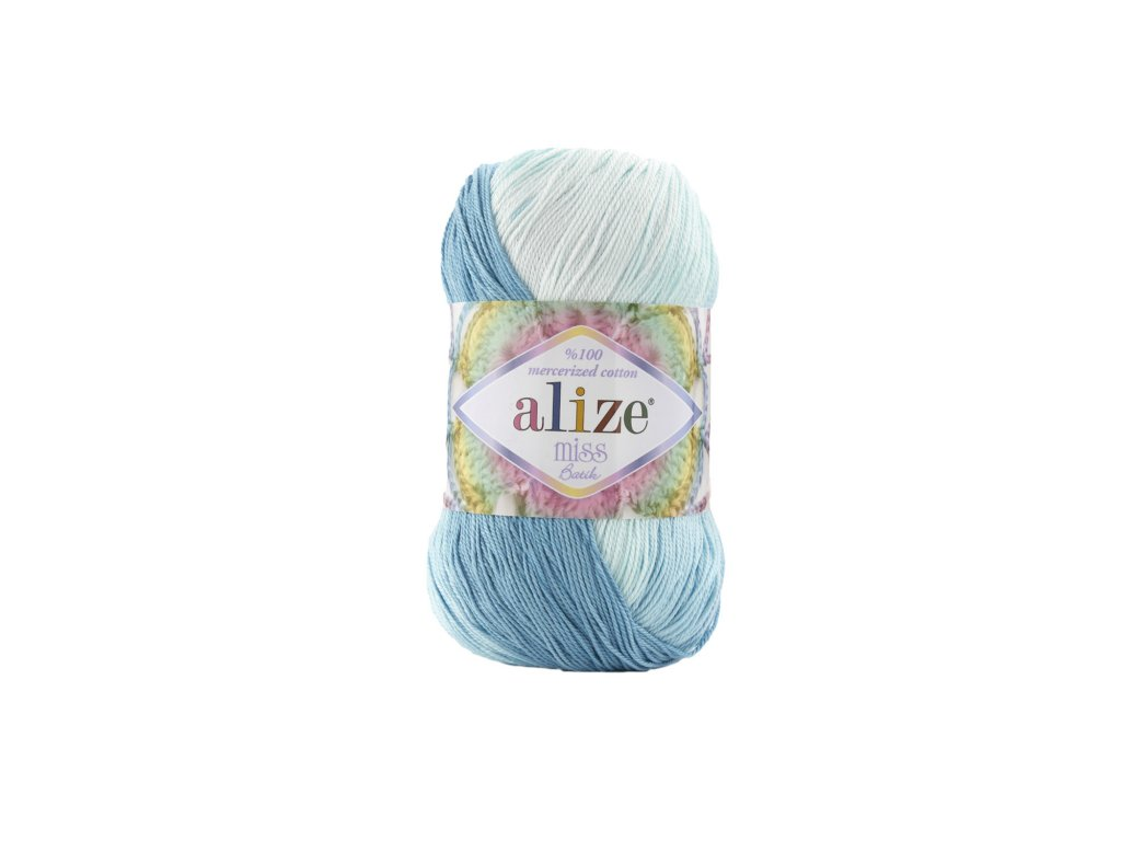 Alize Miss batik 3716 fialovo-žluto-oranžovo-modrá
