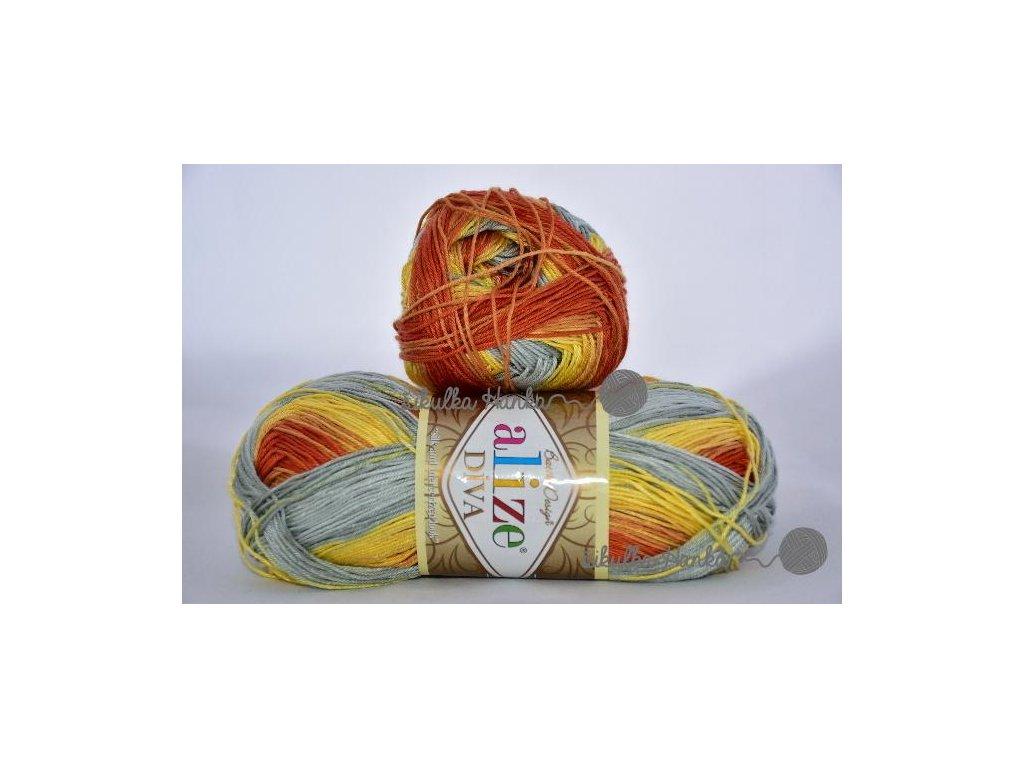 Příze Alize Diva batik 5508 žluto-oranžovo-šedá