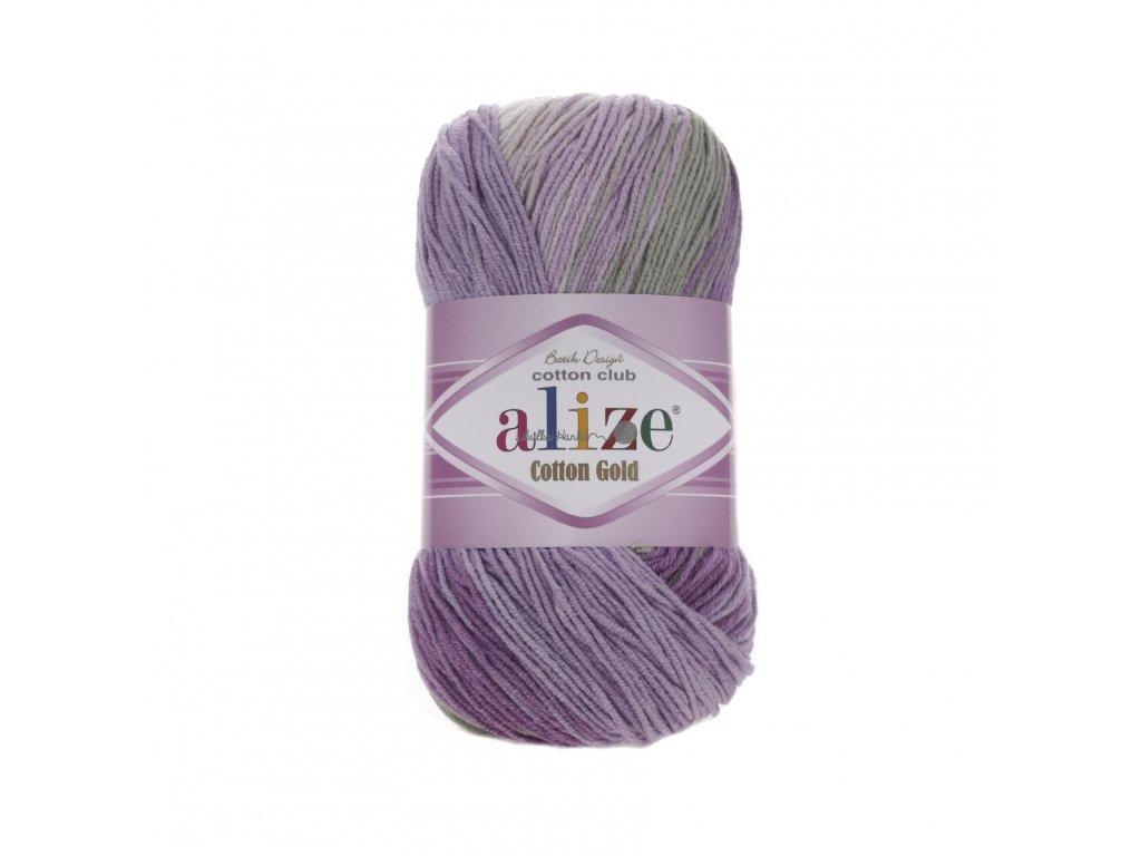 Alize Cotton gold batik 4149 fialovo-šedá