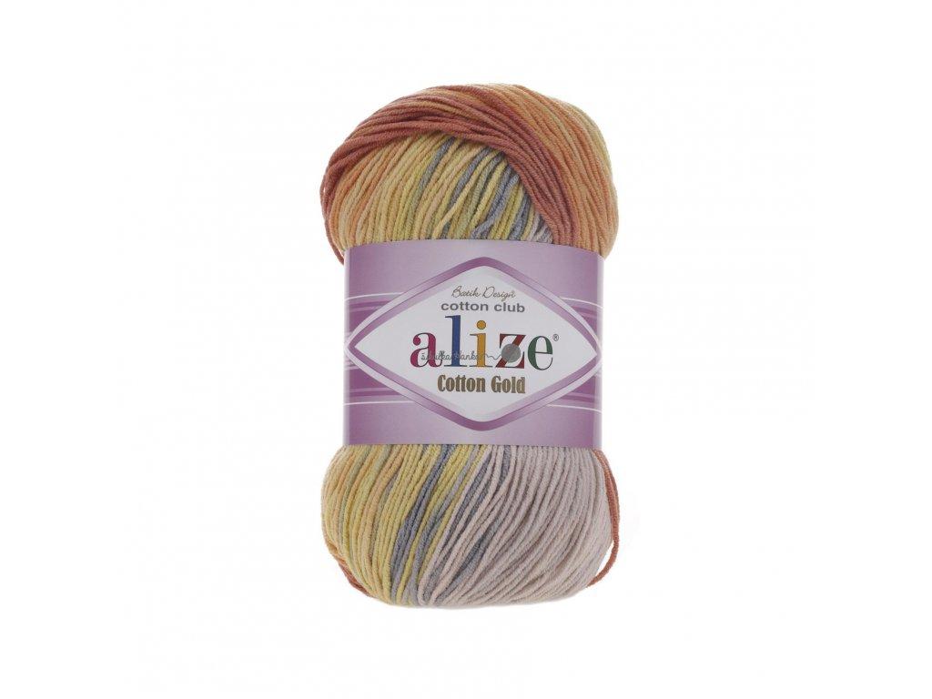 Alize Cotton gold batik 5508 žluto-oranžovo-béžová
