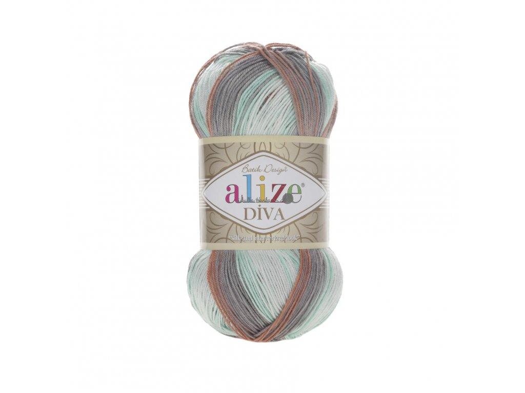 Příze Alize Diva batik 5550 mint-hnědá