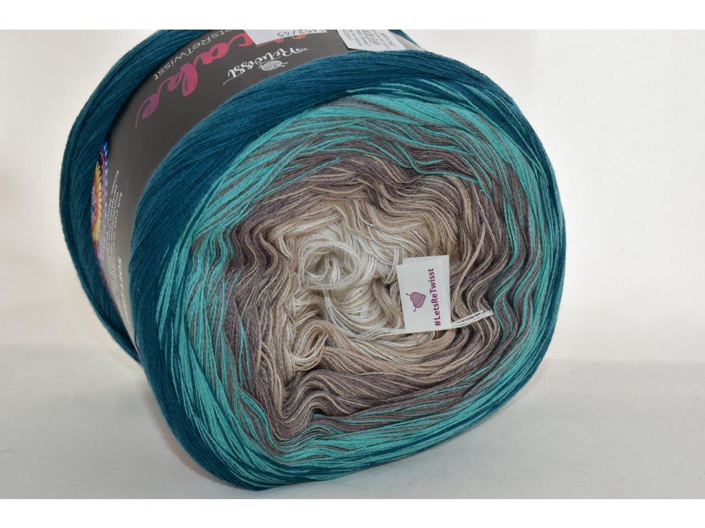 Soft cake yarn 45 smaragdovo-béžová