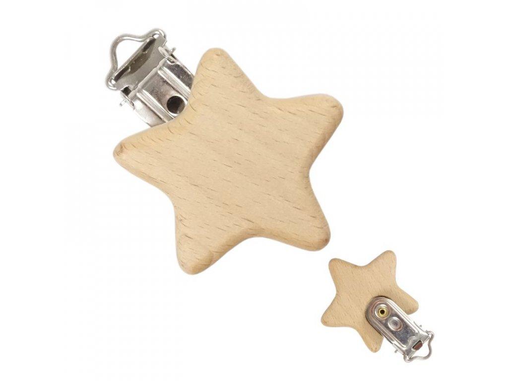 dreveny klip na cumlik hviezda 1 kus id35106