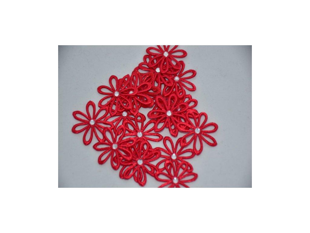 Aplikace kytička s kamínkem červená