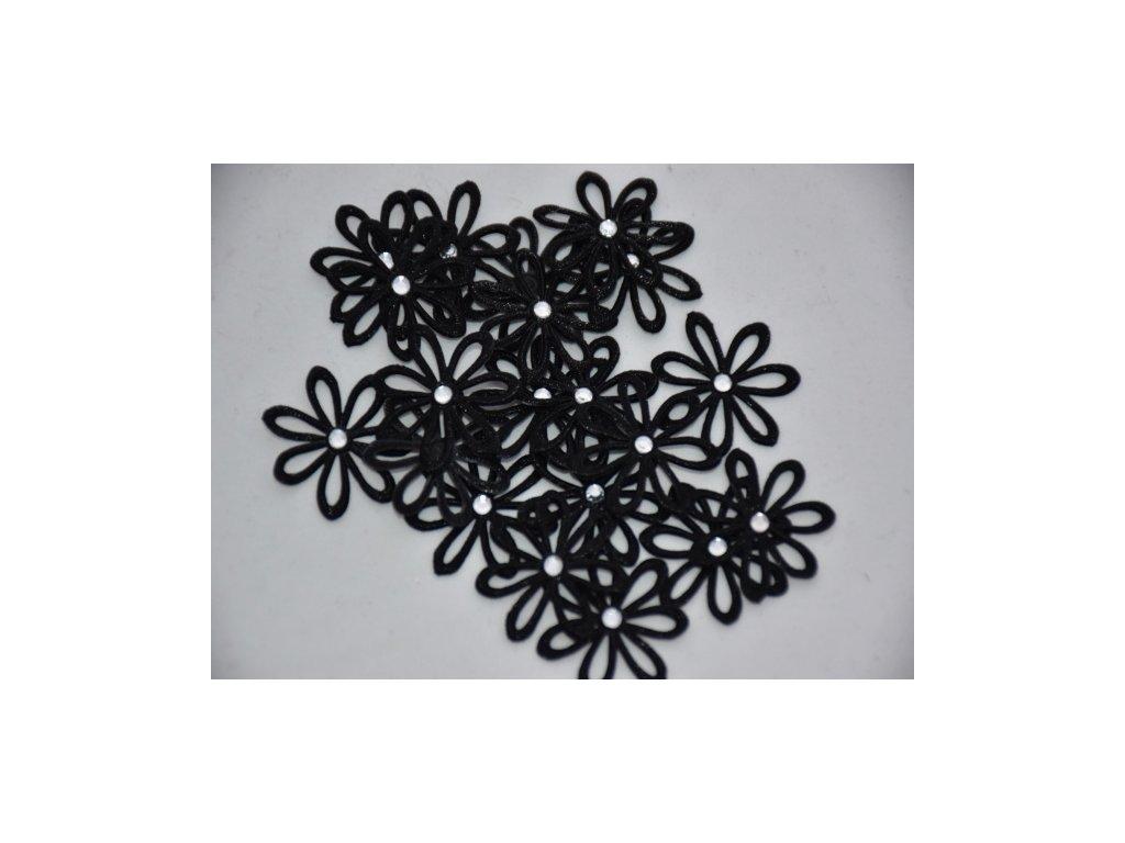 Aplikace kytička s kamínkem černá