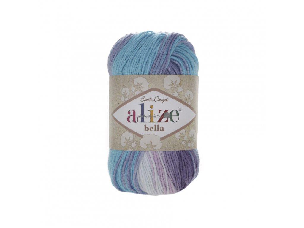 Alize Bella batik 100 - 3677 tyrkysovo-bílá