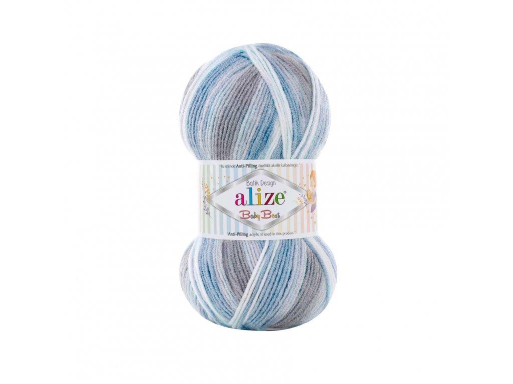 Příze Baby best batik 7540 modro-šedo-bílý melír